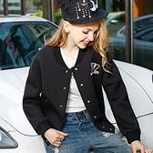 棒球外套-徽章印花寬鬆女短款夾克2色72aq11[巴黎精品]