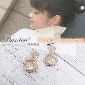 無耳洞耳環 現貨 韓國氣質甜美 小香風 簍空 玫瑰花 吊飾 夾式耳環 S91721 Danica 韓系飾品