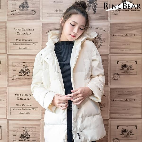 鋪棉外套--俐落保暖禦寒防風立領連帽徽章雙口袋羽絨外套(白.黑L-4L)-J299眼圈熊中大尺碼◎