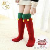 兒童加絨加厚高筒襪冬季毛毛寶寶保暖睡眠過膝卡通珊瑚絨長筒襪子  一米陽光