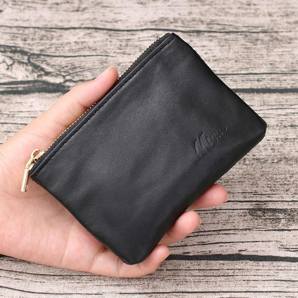 零錢包拉?短款錢包女軟皮羊皮硬幣包卡包簡約小錢袋男士皮夾
