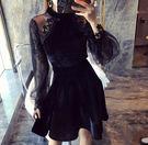 長袖洋裝  透視蕾絲拼接絲絨連衣裙長袖小個子收腰打底小黑裙