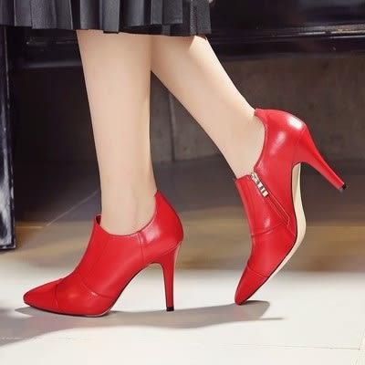 尖頭高跟鞋-獨特皮革花紋造型真皮細跟女鞋子2色73iw82【時尚巴黎】