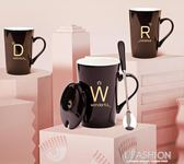 創意姓氏陶瓷杯子帶蓋勺馬克杯辦公室水杯骨瓷情侶咖啡杯牛奶茶杯·Ifashion