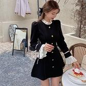 宮廷風洋裝 日系甜美拼接假兩件連身裙 黑色 S-M 依米迦 M6912