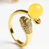 戒指 925純銀 琥珀-氣質獨特生日情人節禮物女開口戒73ga40【時尚巴黎】