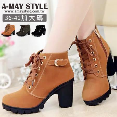 短靴-高質感厚底側拉鍊粗跟踝靴(36-41加大碼)