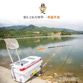 3米定位炮臺支架魚竿超輕超硬架桿碳素臺釣箱釣魚桿架 igo克萊爾