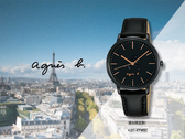 【時間道】agnes b. 港台限定款立體LOGO中性腕錶/黑面玫瑰金刻黑皮帶(VJ21-KYW0C/BH8055X1)免運費