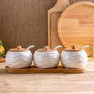 調味罐 陶瓷調味瓶陶瓷竹木架調味罐調料瓶調味盒日式廚房用品三件套裝