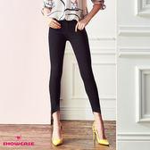 【SHOWCASE】割破造型美腿顯瘦彈性貼腿褲(黑)