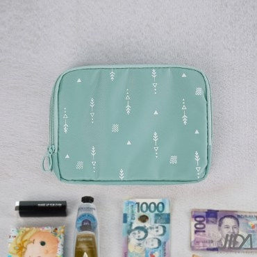 【韓版】超質感280T加厚防水雙層護照包/收納包(湖水綠)