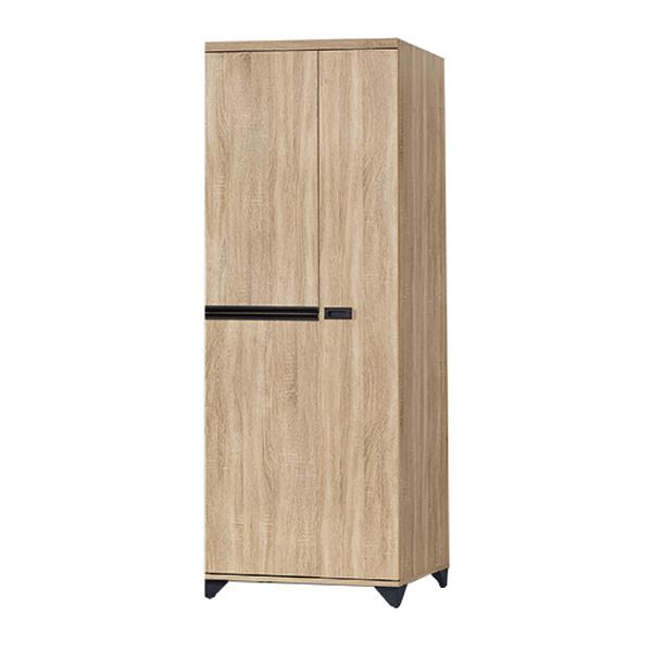 【采桔家居】梅德茲 時尚2.5尺木紋二門衣櫃/收納櫃(雙吊衣桿+單抽屜)