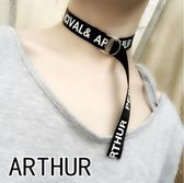 皮帶圓扣韓國朋克字母NICE長款choker項圈女脖子飾品頸帶鎖骨項鍊 沸點奇跡