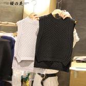 韓國東大門2018春秋新款女圓領顯瘦短款馬甲無袖背心針織套頭毛衣