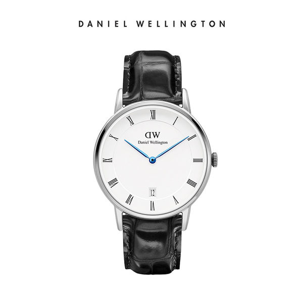 Daniel Wellington DW 手錶 34mm銀框 Dapper 爵士黑真皮壓紋錶