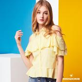 【SHOWCASE】甜美雙層荷葉袖挖肩造型細條紋襯衫(黃)