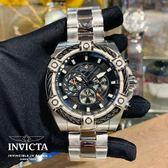 【INVICTA】2019 新款 繩索系列- 三眼計時腕錶 - 黑銀繩索