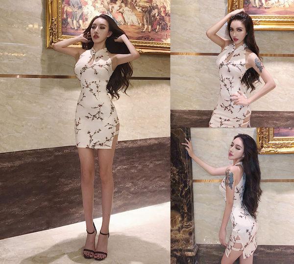 VK精品服飾 韓國風顯瘦優雅氣質碎花改良式旗袍無袖洋裝