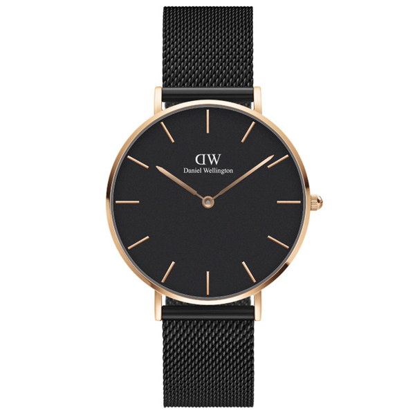 Daniel Wellington DW 手錶 36mm玫瑰金框 Petite 寂靜黑米蘭金屬錶