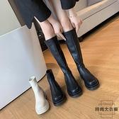 馬丁靴女春秋顯瘦短款單靴厚底高筒騎士長筒靴【時尚大衣櫥】