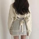 長袖毛衣 V領性感后背露腰綁帶短外套顯瘦上衣長袖針織衫 交換禮物