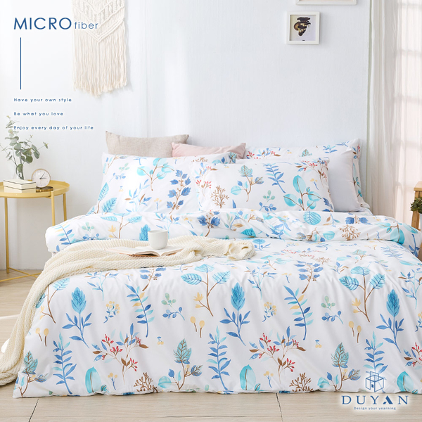 《DUYAN竹漾》舒柔棉單人床包二件組-藍凝冰花