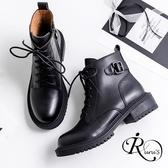 韓系真皮圓頭綁帶低跟短靴/色/35-39碼(RX0230-1968) iRurus 路絲時尚