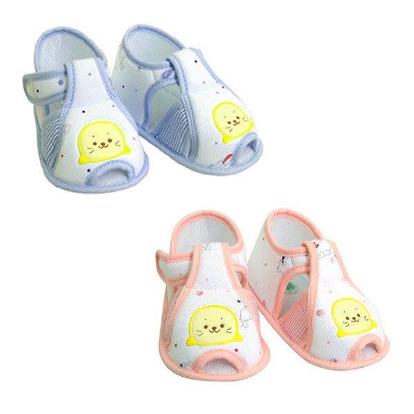 【奇買親子購物網】黃金海獺WOWOCHAN印花嬰兒學步鞋(水藍/粉紅)