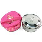 〔小禮堂〕美樂蒂 不鏽鋼便當盒《銀.大臉.附桃紅收納提袋》可以蒸.台灣製4710891-16184