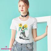 【SHOWCASE】休閒亮片花鞋印花圓領棉質T恤(白色)