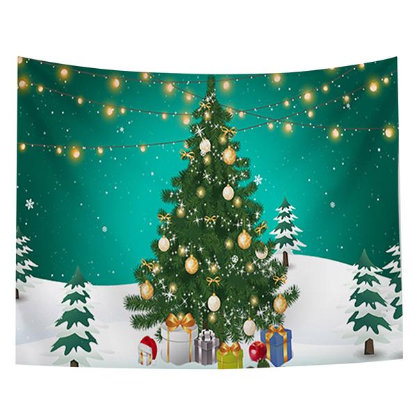 聖誕布置/交換禮物/送1.5米星星燈//聖誕節布置裝飾掛布-燈串聖誕樹(沙灘巾 背景布 )【半島良品】