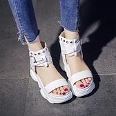 運動涼鞋女夏新款百搭厚底內增高網紅仙女風超火羅馬鞋ins潮