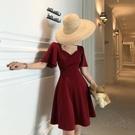 夏季新款短袖雪紡復古高腰裙子法式減齡氣質連衣裙大碼女裝胖妹妹 pinkq時尚女裝