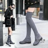 過膝靴 長靴女過膝粗跟瘦瘦靴2020秋長筒靴顯瘦彈力靴加絨女靴子