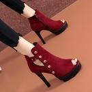 魚口鞋 魚嘴高跟鞋2021春夏季新款防水臺羅馬涼靴鉚釘女士厚底涼鞋女細跟