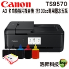【搭專用填充墨水匣+100cc五色專用墨水】Canon PIXMA TS9570 A3 多功能相片複合機 不含原廠墨水匣