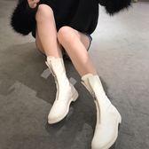 秋冬新款白色前拉鏈短靴做舊自然皺女皮靴粗跟圓頭中筒靴