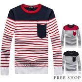 Free Shop【QMD50061】日韓系風格簡約時尚撞色口袋橫條紋配色保暖圓領針織衫毛衣 二色