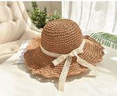 俏皮淑女風蕾絲蝴蝶結波兩邊草帽 沙灘帽女夏天海邊度假遮陽帽第七公社