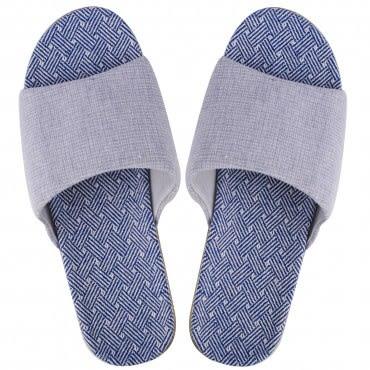 HOLA home 條紋織底輕便拖鞋 藍色 M