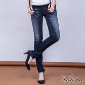 Victoria 十字繡鑽低腰窄直筒褲-女-深藍