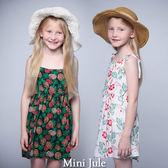 童裝 洋裝 紅花綠葉/配色鳳梨綁帶細肩帶洋裝(共2色) Azio Kids 美國派 童裝