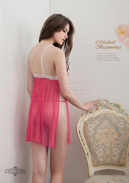 【中大尺碼睡衣】桃色側開襟二件式柔紗性感睡衣 星光密碼B046