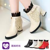 【快速出貨】韓系甜美浪漫蕾絲方扣尖頭長跟短靴/4色/35-43碼 (RX1268-902) iRurus 路絲時尚