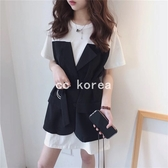 假兩件撞色拼接洋裝 CC KOREA ~ Q27685