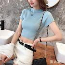 針織衫2019夏新款韓版高腰冰絲針織衫T恤女修身緊身短款短袖露肚臍上衣 PA8535『男人範』