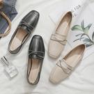2021春秋季新款方頭平底一腳蹬兩穿單鞋女樂福鞋小皮鞋英倫風女鞋寶貝計畫 上新