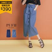 (現貨-淺藍)PUFII牛仔中長裙 排釦鬆緊綁腰丹寧長裙(附綁帶)2色0308現+預春【ZP14220】