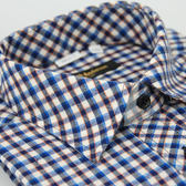 【金‧安德森】藍橘白格紋保暖窄版長袖襯衫